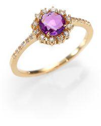 KALAN by Suzanne Kalan - Amethyst, White Sapphire & 14k Yellow Gold Starburst Ring - Lyst