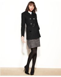 Nine West - Double Breasted Woolblend Belted Pea Coat - Lyst