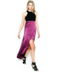 Donna Mizani Silk Racer Front High Low Maxi Dress - Lyst