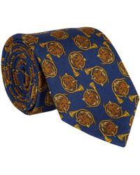 Drake's Navy Fox Print Wool Tie - Blue