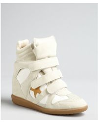 Isabel Marant Ivory Suede and Canvas Star Hidden Wedge Sneakers - Lyst