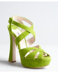 Miu Miu Lime Suede Crisscross Strapped Platform Sandals - Lyst