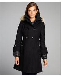 SOIA & KYO - Black Double Breasted Reina Fur Trim Hooded Coat - Lyst