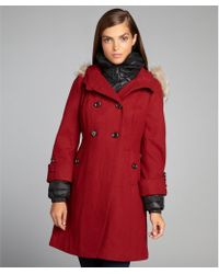 SOIA & KYO - Red Double Breasted Reina Fur Trim Hooded Coat - Lyst