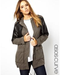 Asos Curve Asos Curve Exclusive Premium Parka Jacket with Leather Detailing - Lyst
