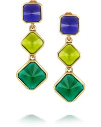 Oscar de la Renta Gold Plated Resin Clip Earrings - Lyst