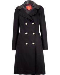 Vivienne Westwood Red Label - Black Melton Double Breasted Leather Collar Coat - Lyst