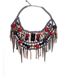 AKIRA Skull Spike Bib Necklace - Multicolour