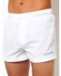 Calvin Klein White Swim Shorts - Lyst