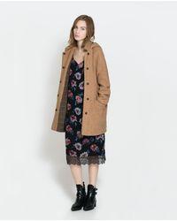 Zara Large Hooded Duffel Coat - Lyst