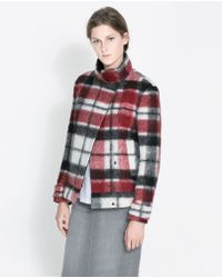 Zara Double Breasted Checked Woollen Three Quarter Length Coat - Lyst