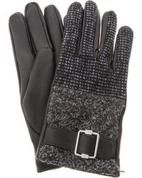 Balenciaga Tweed and Leather Gloves - Black