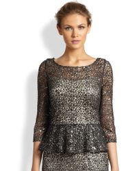 Kay Unger Sequined Lace Peplum Top - Lyst