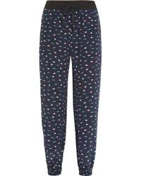 Lulu & Co Planet Print Silk Pants - Blue