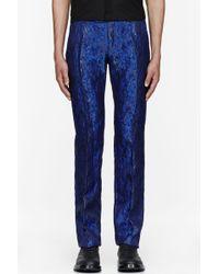 Mugler - Royal Blue Wool Silk Jacquard Trousers - Lyst