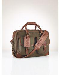 Polo Ralph Lauren Canvas Leather Commuter Bag - Green