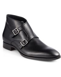 Ralph Lauren Guilford Double Monk-Strap Boots black - Lyst