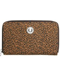 Fred Perry Leopard Print Long Purse - Brown