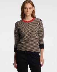 Halston Heritage Contrast Trim Crew Neck Sweater - Lyst
