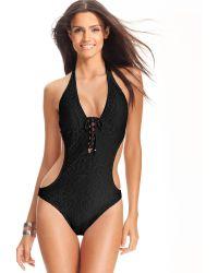 Ralph Lauren Ralph Lauren Blue Label Swimsuit Halter Crochet Lace Up Onepiece Monokini - Lyst