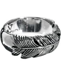 KR3W Seven London Sterling Silver Feather Ring - Metallic
