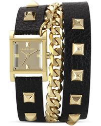Vince Camuto - Womens Black Leather Chain Wrap Watch 21mm - Lyst