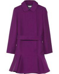 Miu Miu Dropped-waist Gabardine Coat - Purple