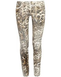Juicy Couture Mid Rise Coated Leopard Print Skinny Jeans - Natural