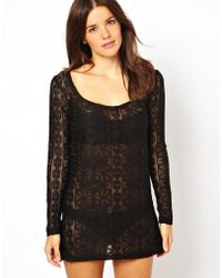 Asos Long Sleeve Lace Beach Dress - Lyst
