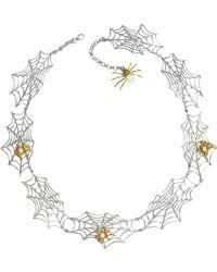 Bernard Delettrez - Bronze Spiders On Silver Web Necklace - Lyst