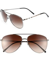 Burberry House Check Foil 57mm Aviator Sunglasses - Lyst