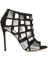 Gianvito Rossi Caged Metallic Suede Sandals silver - Lyst