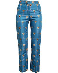 House of Holland Martini Printed Cigarette Trousers - Blue