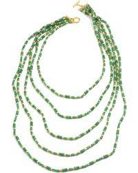 Lauren by Ralph Lauren - Worn Goldtone Green Aventurine Bead Fiverow Necklace - Lyst