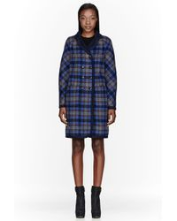 Marc By Marc Jacobs - Navy Plaid Wool Reversible Gable Coat - Lyst