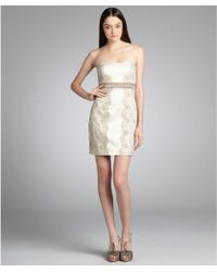 Max & Cleo Nude Satin Lace 'Olivia' Strapless Cocktail Dress - Lyst