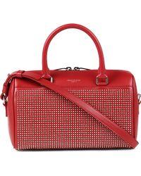 Saint Laurent Studded Leather Mini Duffle Bag - Red