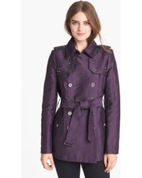 Sam Edelman Studded Double Breasted Trench Coat - Lyst