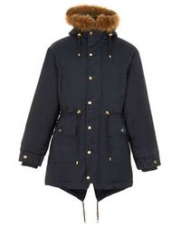 Topman Navy Parka with Faux Fur Trim - Lyst