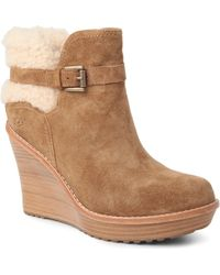 Ugg Anais Suede Leather Ankle Boots Brown - Lyst