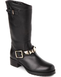 Valentino Studded Leather Biker Boots - For Women, Blk/Beige - Lyst