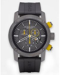 Burberry Mens Rubber Chronograph Watch - Gray