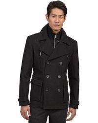 Kenneth Cole - Doublebreasted Pea Coat - Lyst