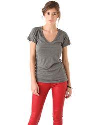 LNA Short Sleeve V Neck Tee - Grey - Lyst