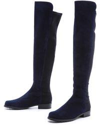 Stuart Weitzman 5050 Stretch Suede Boots - Black blue - Lyst