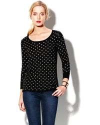 Vince Camuto Polka Dot Crewneck Sweater - Lyst
