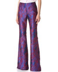 Wes Gordon Filigree Brocade Flare Pants - Purple