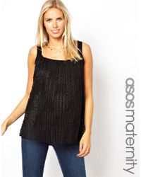 Asos Maternity Exclusive Lace Top with Pleats - Lyst