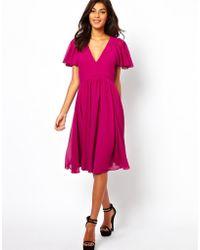 Asos Midi Frill Sleeve Dress - Lyst