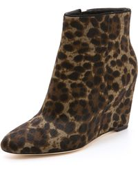 B Brian Atwood - Bellaria Wedge Haircalf Booties - Lyst